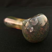 Sale Glass Pipe Inside Out Exotic Green Sparkle Frit and Gold Fuming Color Changing Tobacco Spoon Pipe