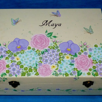 Custom Painted Wedding Box Wedding Keepsake Marriage Trunk Large Painted Wood Box Personalized Bridal Shower Gift Card Box Orchids Roses