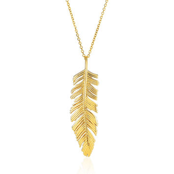 Intricately Detailed Textured Feather Pendant & Chain in 14k Gold