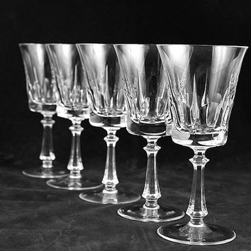 Crystal Stemware Vintage Dolly Madison Fostoria Leaded Glass Ware Wine Water Goblet Dining and Entertaining 1950s Mid Century Glass