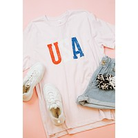 USA S/S Graphic Tee, Pink | Extended Sizes Available