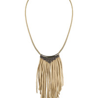Fiona Paxton Daisy Leather Fringe Necklace in Oxidized