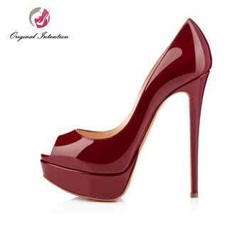 Original Intention New Fashion Women Pumps Sexy Peep Toe Thin High Heels Shoes Woman Pumps Plus US Size 4-15