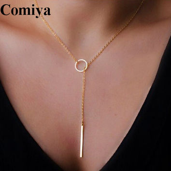 Popular Gold plated thin adjustable chain Simple Layering Necklace bar pendants necklaces wedding bridal jewelry Gifts for Mom