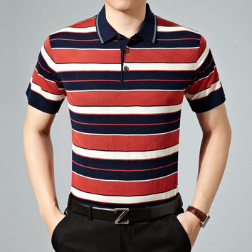 Summer Casual Stripes Knit Men Short Sleeve T-shirts [6544195779]