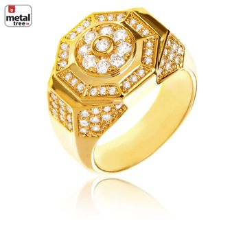 Jewelry Kay style Men's Fashion Hip Hop Iced Out Brass 14k Gold Plated CZ Band Octagon Pinky Ring