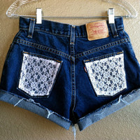 High Waisted Lace Pocket Levi's Shorts (Small)