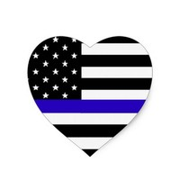 HEART SHAPED THIN BLUE LINE SUPPORT POLICE STICKER