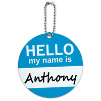 Anthony Hello My Name Is Round ID Card Luggage Tag
