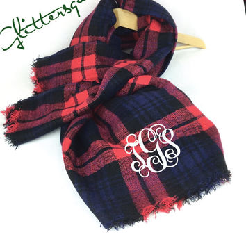 Trendy 2015 - 2016 *Red/ Navy* Tartan Scarf /bride gift / gift for women / Scarf Wrap /Plaid Blanket Scarf / zara style / Winter Scarf