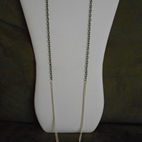SALE 36 inch long Single Grey and Double White Chain Layering Necklace