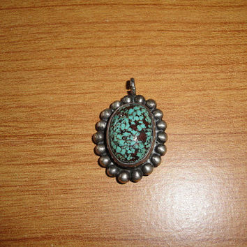 Vintage Native American Small Turquoise Pendant for Necklace Sterling Silver Lots of Brown Matrix Signed B Begay