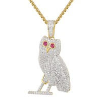 14k Gold Finish Silver Iced Out Owl Ruby Eyes Pendant Tennis Chain