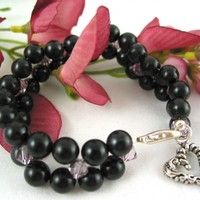 Handmade Woven bracelet Black Jade Purple Swarovski Metal Heart dangle