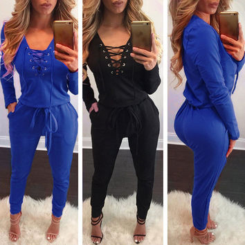 New Fashion Summer Jumpsuits Skinny Long Sleeve Sexy Rompers Women Clothing Deep V-neck Night Club Ptary Wear Bodysuit