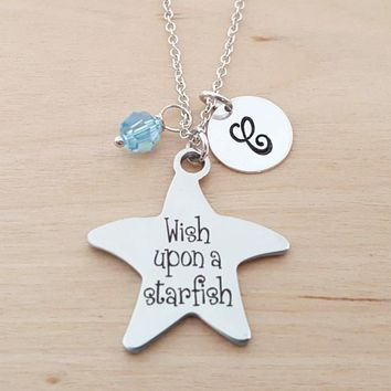 Wish Upon A Starfish - Personalized Sterling Silver Necklace