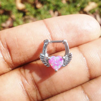 Pink heart wings opal septum Ring, 16G Piercing Gem Stone Indian Nose Ring Tribal Septum Ring Body Jewelry Piercing Silver Clicker