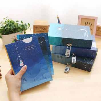 Mariyana Nebula Notebook A5 Personal Diary With Lock Notebooks Vintage Box Organizer Travel Journal Agenda Password Secret Book