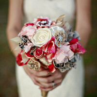 Fabric, Paper and Lace Bridal Bouquet - as seen on Huffington Post