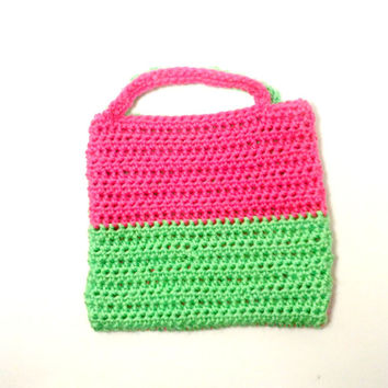 Girls Tote Bag, Crochet Kids Purse , Little Girl Purse , Toddler Purse , Toddler Tote Bag , Girl Bag , Girls Handbag , Child's Spring Tote