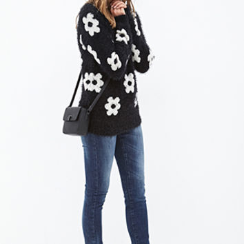 FOREVER 21 Fuzzy Daisy Sweater Black/Cream