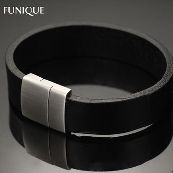 FUNIQUE Women & Men Bracelet Allergy Free Black Real Leather Bangle Bracelet With Stainless Steel Magnetic Clasp Gift 21x1.6cm