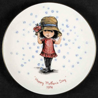 Fran Mar Moppets Girl Wearing Hat Mother's Day Porcelain Plate - Limited Edition 1974