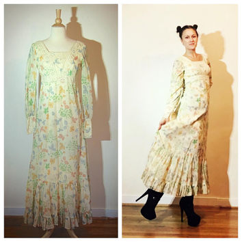 1970s Prairie Dress Floral Long Sleeve Boho Festival Hippie Empire Waist by Sylvia Ann size 4