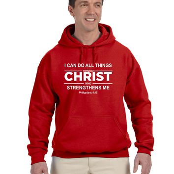 I Can Do All Things Through Christ Who Strengthens Me Philippians Christian Hoodie Hooded Sweatshirt