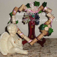 Heart Shaped Wine Cork Wreath, Valentine's Day decor, Wedding decor, hostess gift