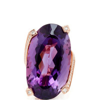 One of a Kind 14K Rose Gold, Amethyst and Diamond Ring