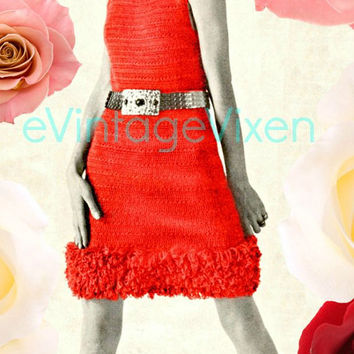 INSTANT DOWNLOAD 1960s Mod Loop-Stitch Trim Dress Vintage Crochet Pattern Clubbing Party Festival Summer Fun Resort Holiday Free Gift Beso