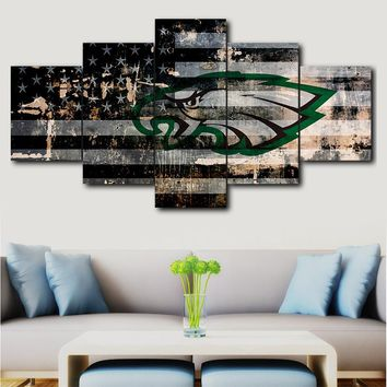 Modern Home Wall Art Deco Frame Modular Canvas Oil Picture HD Print Painting 5 Panel Philadelphia Eagles Sports Logo Poster