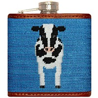 Cow Needlepoint Flask in Blue by Smathers & Branson
