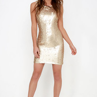 Sequin You Later Gold Sequin Dress