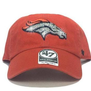 DCCKH9D Denver Broncos '47 Brand Adjustable Cap + Custom Swarovski Crystals - Orange