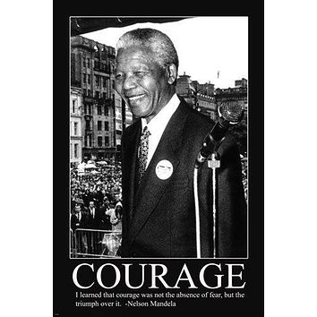 NELSON MANDELA's quote about courage & fear MOTIVATIONAL poster 24X36