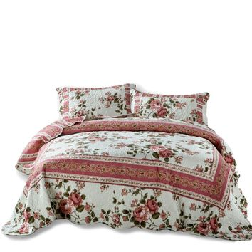 DaDa Bedding Dainty Bohemian Cottage Dusty Roses Floral Quilted Bedspread Set (KBJ1627)