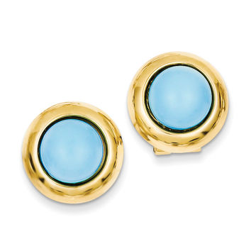 14k Omega Clip Reconstituted Turquoise Earrings H927