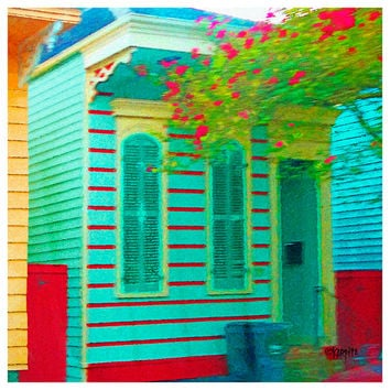 Colorful Striped House New Orleans Bywater Whimsical Shotgun Giclee Print 10x10 16x16 - Color Me Striped - Korpita