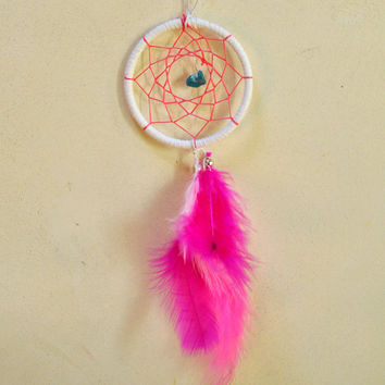 Dream Catcher for Car Mirror- White, Pink, and Turquoise