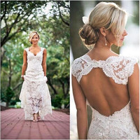 2017 Country Style Wedding Dresses  Lace Beach Wedding Dresses Vintage A Line Bridal Gown Wedding Gowns
