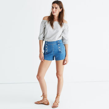 High-Rise Denim Boyshorts: Sailor Edition : | Madewell