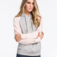 Full Tilt Essential Womens Color Block Hoodie Light Pink  In Sizes
