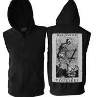 Skeleton - Sleeveless Hoodie | Black Craft