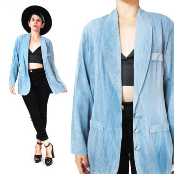 80s Lightweight Blue Blazer Tie Dye Blazer Chambray Blazer Indigo Dyed Faded Blue Womens Blazer Suit Jacket Button Up Summer Blazer (M)