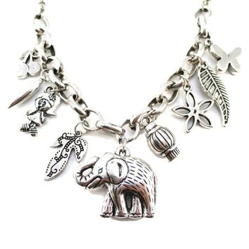 3D Elephant Floral Leaves Shaped Charm Necklace in Silver | Animal Jewelry