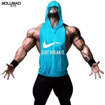 BOLUBAO Brand Men Hoody Tank Top Workout Muscle Stringer Tanks Top Bodybuilding Gyms Clothes Fitness Sleeveless Shirt Ridge Male