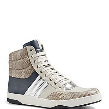 Gucci Men's Snakeskin & Leather Padded High-Top Sneaker, Navy/Beige/Silver 368494