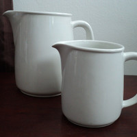 pair of midcentury all white pitcher kaj by valeriesvintagehome